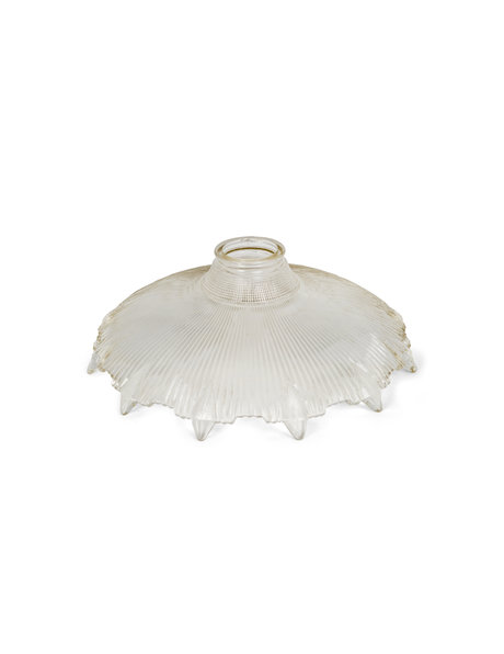 ndustrial lampshade, ribbed glass, thick