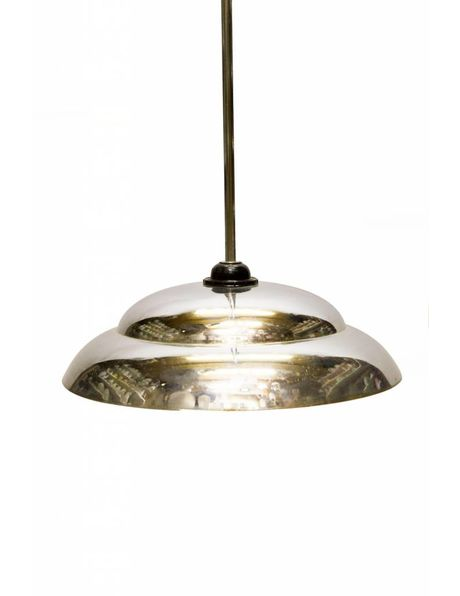 Hanging lamp, silver, entirely chrome lamp, 1950s