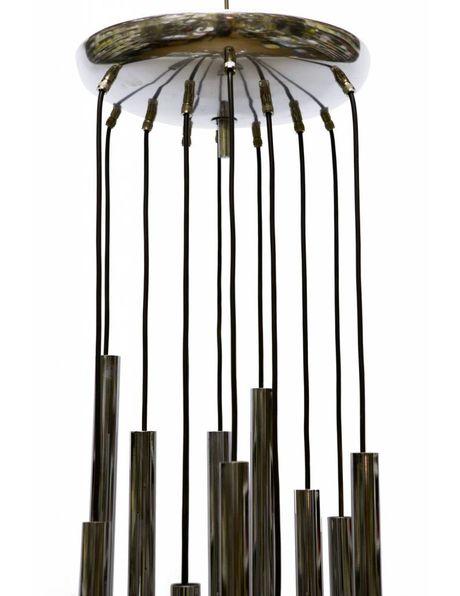 Design lighting, Sciolari, 12 chrome tubes, 1960s