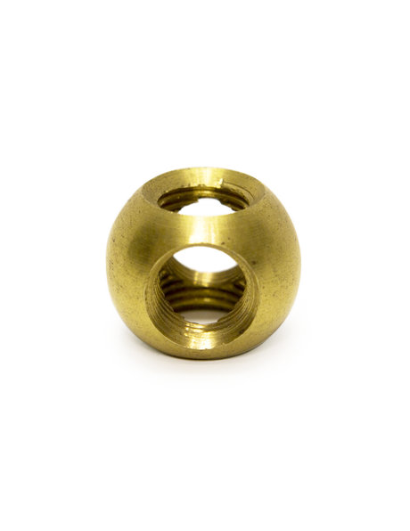 Lamp parts, cross connector for tubes, 1.0 cm / 0.39 inch (M10), brass