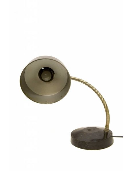 Retro desk lamp, black shade and base with chrome-coloured arm, 1950s