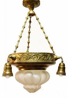 Hanglamp, Koper Armatuur, Mat Glas