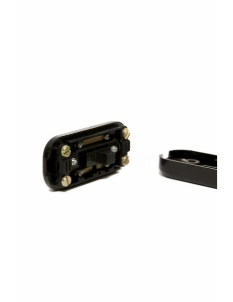 Black in line switch, rectangular shape with rounded edges