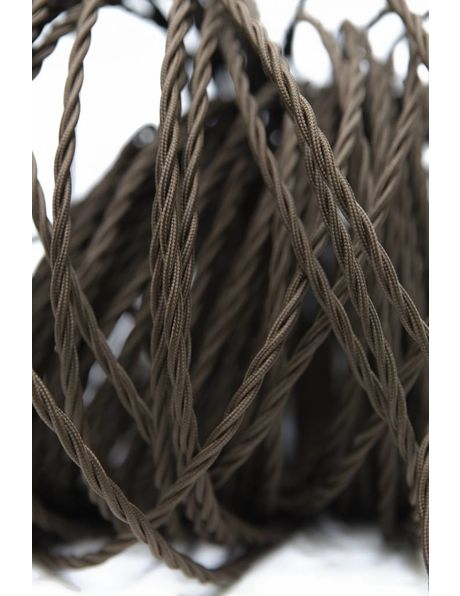 Fabric electricity cord, brown colour,braided wire, 3 core