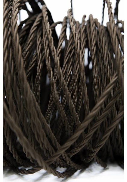 Lamp Wire, with Textile Cover, Brown, Braided