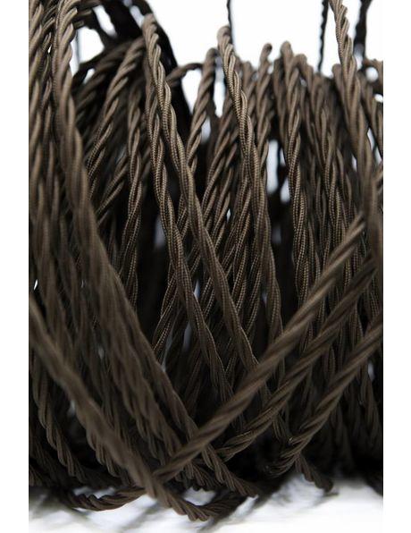 Stoffen Snoer, bruine kleur, gevlochten draad, 3 aderig