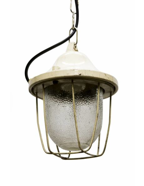 Factory lamps, Industrial cage lamp on chain, 1950s