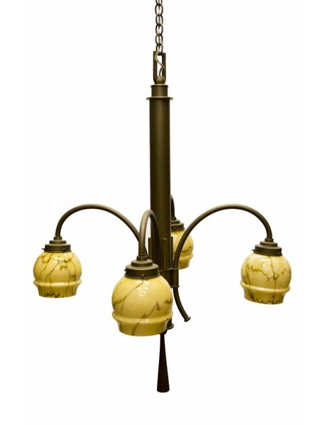 1930s hanging lamp, Art Deco, copper with marbled glass