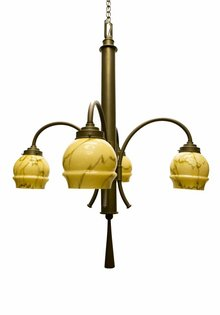 Art Deco Lamp, Gepatineerd Koper met Glas