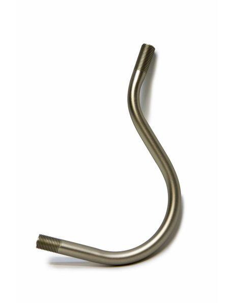 Gepoetst zilverkleurige arm/stang voor het bevestigen van een wandlamp, schroefdraad heeft een m 10 diameter.