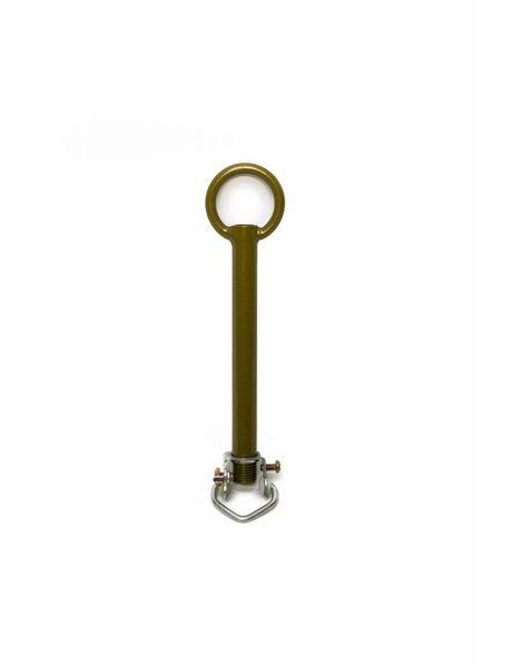 Adjusting tube with ring nipple, caramel brown metal, M10