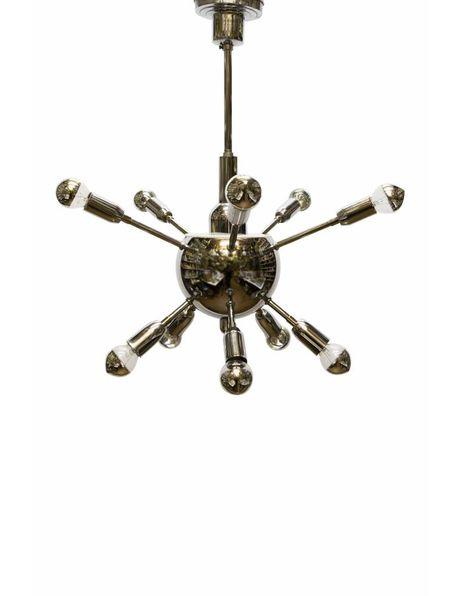 Pendant lamp design, chrome-coloured hanging lamp: Spoetnik
