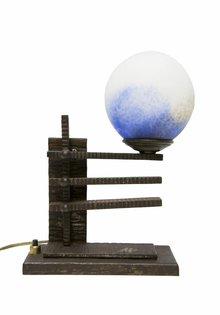 Tafellamp Zwart, Fer Forge met Pate de Verre Glas