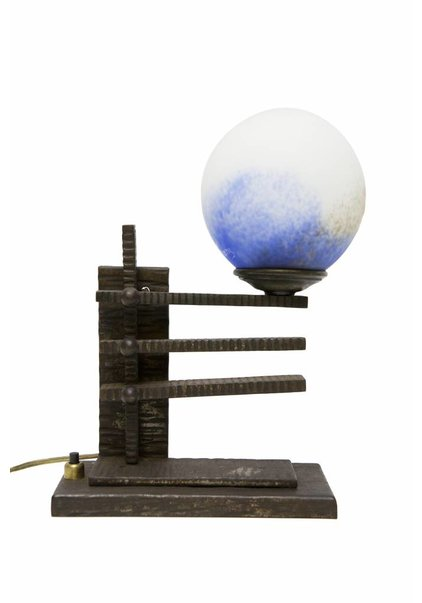 Table Lamp Black, Fer Forge with Pate de Verre Glass