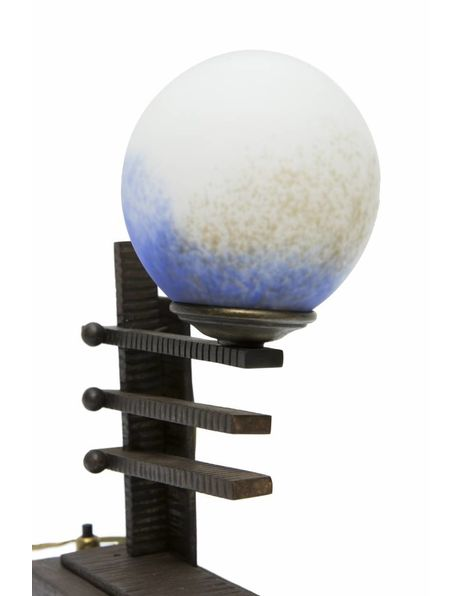 Antique table lamps, black metal with blue pate de verre, 1930s