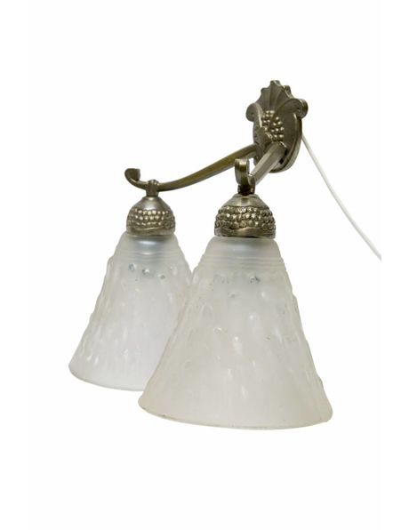 Antique wall lamp, silver-coloured fitting, 2 glass shades, 1920s