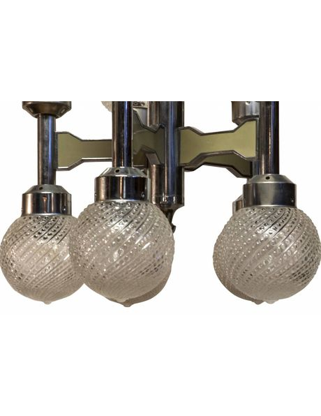 Retro Hanging lamp, 10 glass spheres