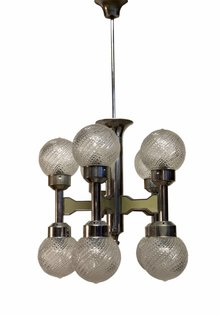 Retro Pendant Lamp, 10 Glass Spheres