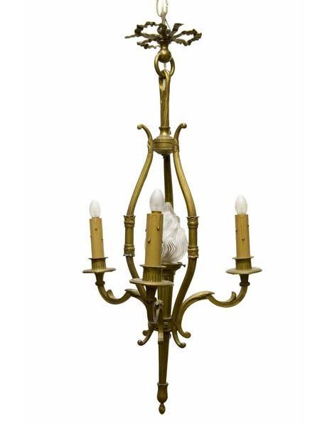 Kroonluchter bruin, brons armatuur met glazen kapje
