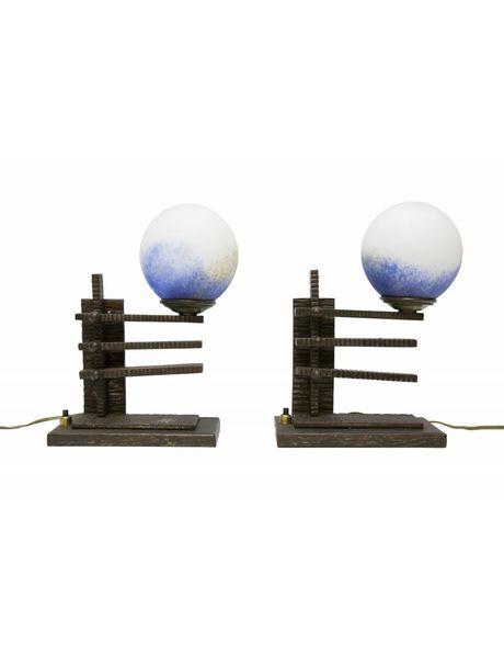 Antieke tafellamppen, zwart metaal met blauw pate de verre, ca. 1930