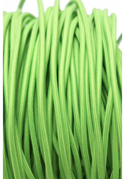 Lamp Wire, with Fabric Cover, Bright Green, Round Model