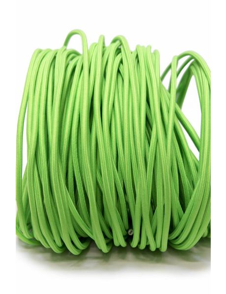 Bright green electrical cord, with textile cover, round, 2 cores