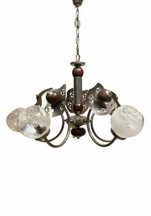 Pendant Lamp, Wood-Chrome Fixture with Murano Glass