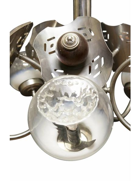 Hanging lamp from the 50s, chrome and wood fixture with Murano glass spheres