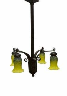 Art Deco Hanglamp, Fer Forge, Hand Geblazen Glas