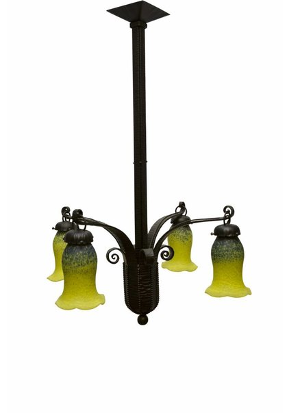 Art Deco Pendant Lamp, Fer Forge, Hand Blown Glass