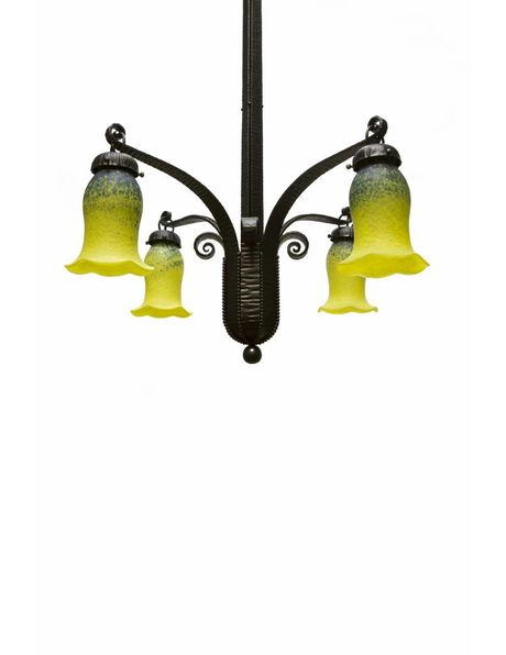 1930s hanging lamp, Fer Forge in black, hand-blown glass in blue, green, yellow, 1920s