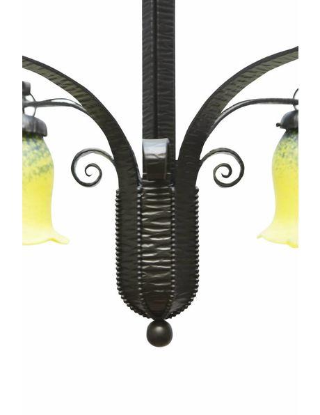 Jaren 30 Hanglamp, Fer Forge in zwart, hand geblazen glas in blauw, groen, geel, ca. 1920