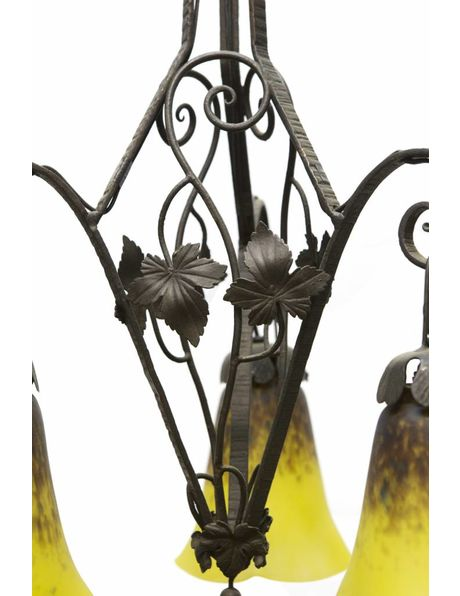pendant lamp, hand-blown glass on fer forge fixture, 1920s