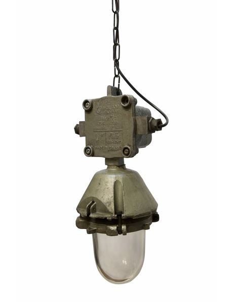 Industrial lamp, robust metal holder with clear glass cylinder, 1940s