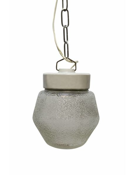 Industrial hanging lamp, porcelain holder with decorated glass shade, 1940s