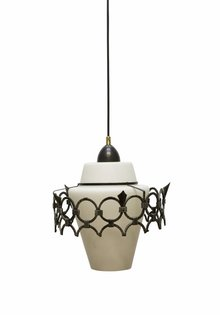 Pendant Lamp White, Milky White Glass Shade with Metal Ring