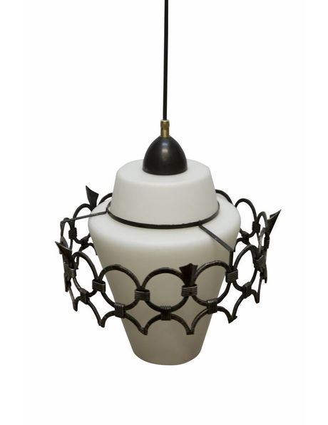 Glass hanging lamp, metal ring over white glass shade, 1940s
