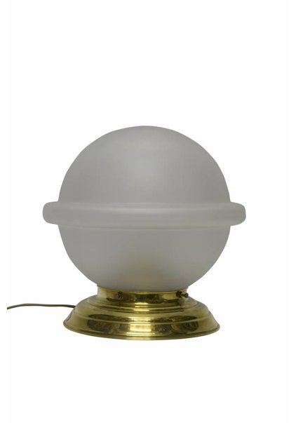 Tafellamp Glas, Messing Voetje met Matglazen bol