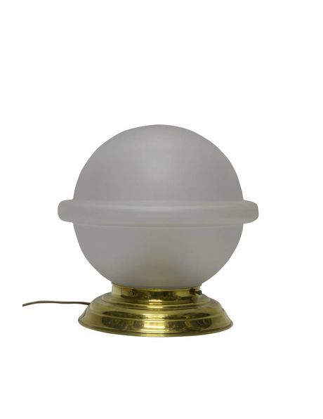 Antique table lamp, large frosted glass sphere on a copper fixture, 1940s