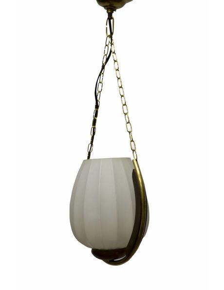 Pendant lamp, design, glass shade in wood and copper frame, 1950s