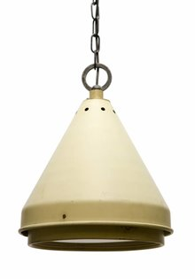 Industrial Hanging Lamp, Cream Metal with Glass