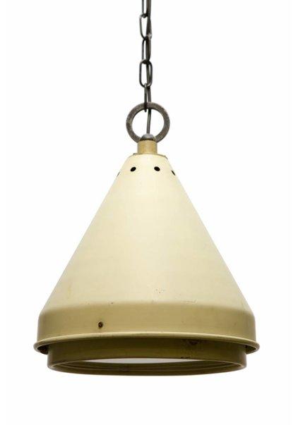 Industriele Hanglamp, Creme Metaal met Glas