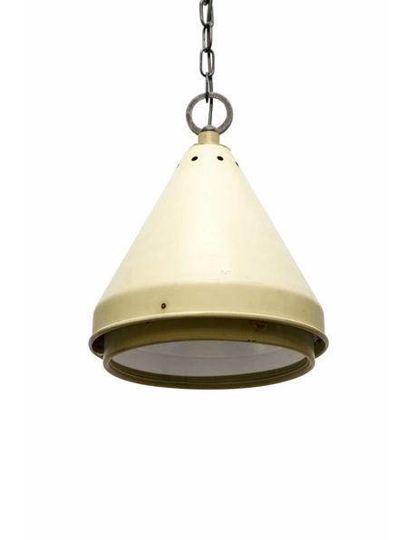 Hanging lamp industrial, flared metal shade with glass, 1950s