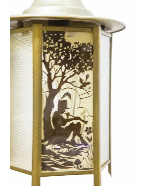 Small lantern, glass in copper, decorated with trees and flute player, 1940s