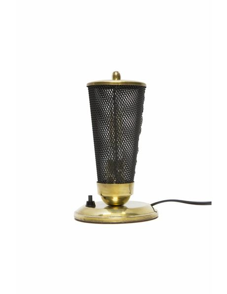 Vintage table lamp, 1950s, black with copper