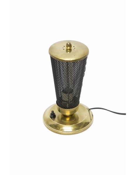Vintage Tafellamp, jaren 50, zwart met koper