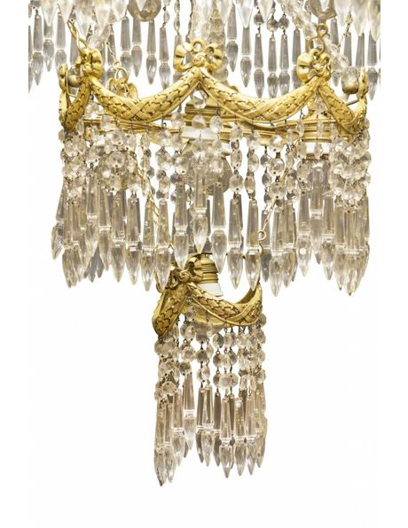 Chandelier, 3-tiered copper, covered with crystal glass, 1900s