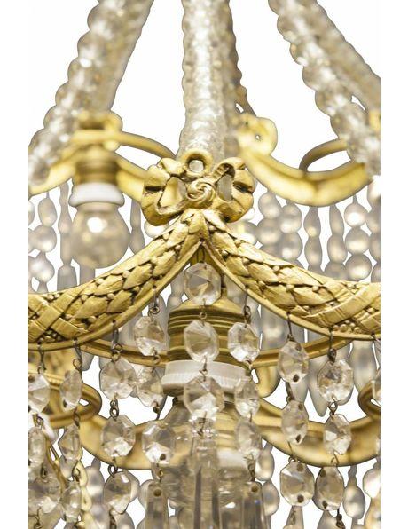 Kroonluster, 3-etages koper behangen met kristalglas, ca. 1900