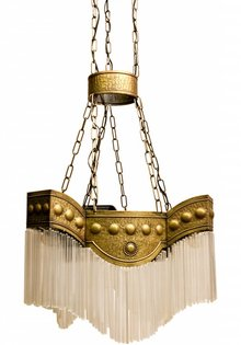 Copper Pendant Lamp Art Deco with Glass Beads, 1920s
