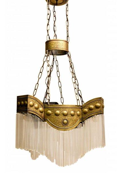 Koperen Hanglamp Art Deco met Glazen Kralen, 1920